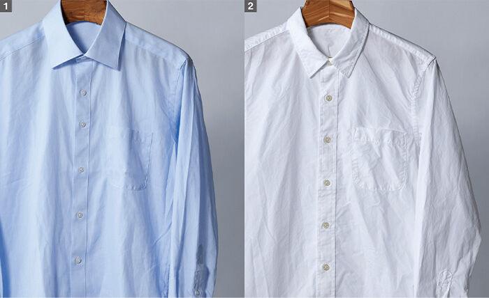 大風量で皺になりにくい。素材によるワイシャツの比較。どちらもシワが少ない。