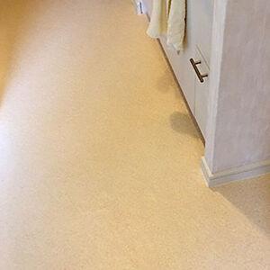 傷みがあった床が手入れのしやすいクッションフロアに変わる