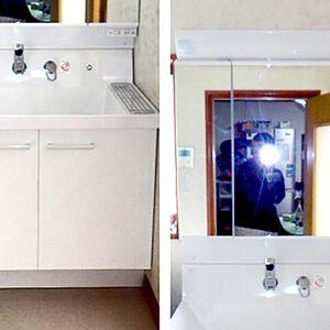 まずは洗面台を大容量にして、掃除もしやすく使いやすく!